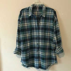 Free People Raw Hem Plaid Button Down Shirt